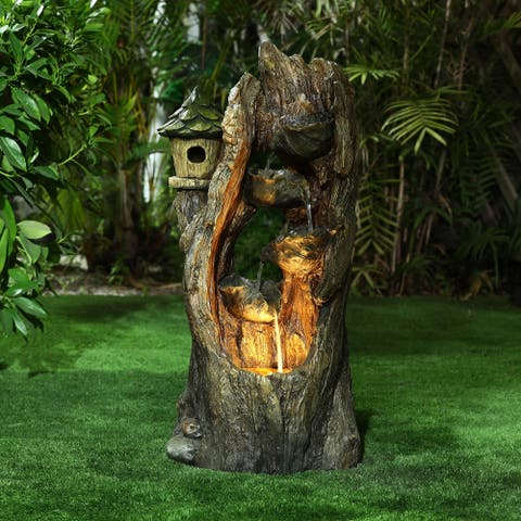 Resin Hollow Tree Outdoor Fountain with LED Lights