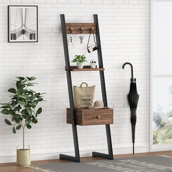 """58""""H Tall Nightstand with Drawer, 3-in-1 Hall Tree Entryway Table. Opens flyout."""