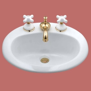 Above Counter Drop-in Bathroom Sink Self-Rimming White China| Renovator's Supply