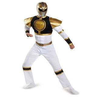 Mens White Ranger Muscle Power Rangers Costume - XL