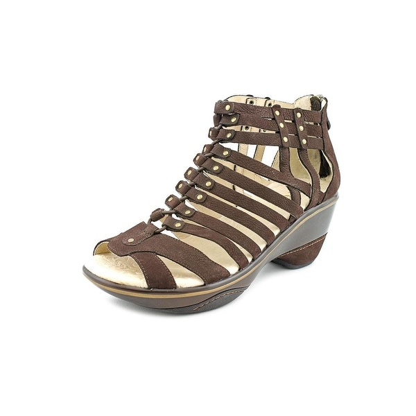 Jambu Sugar Women Open Toe Leather Brown Gladiator Sandal