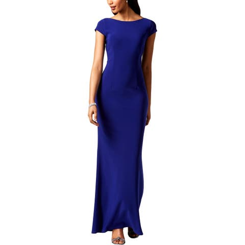Betsy & Adam Womens Evening Dress Full Length Bow Back