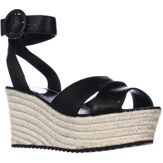 Alice and Olivia Roberta Platform Espadrille Wedge Sandals - Black