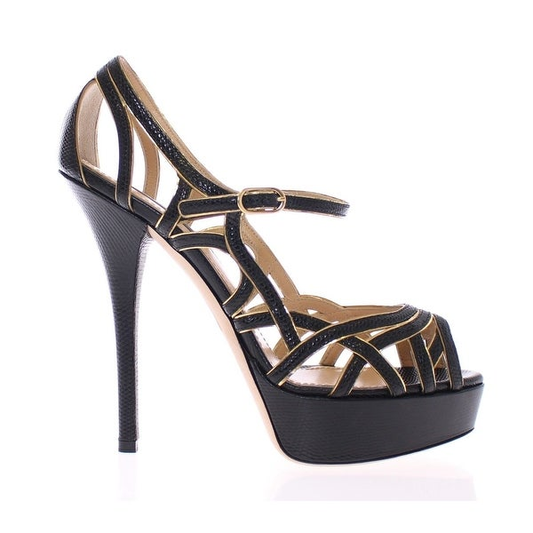 909426999d3 Shop Dolce   Gabbana Black Leather Platform Sandals Pumps Shoes - 40 ...