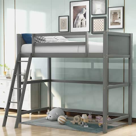 Merax Panel Style Solid Wood Loft Bed, Side Angled Ladder