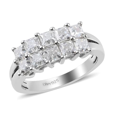 Shop LC Platinum Over 925 Sterling Silver Moissanite Band Ring Ct 3.5