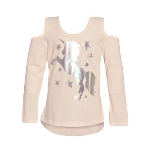 Little Girls Ivory Sparkle Unicorn Star Cold-Shoulder Long Sleeved Top