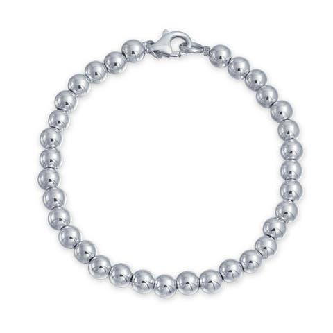 Round Ball Bead Strand Bracelet Shinny High 925 Sterling Silver 6MM