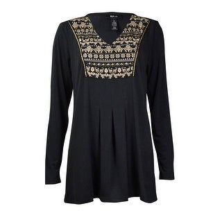 Style & Co Women's Elaborate Pleated Long Sleeve Blouse