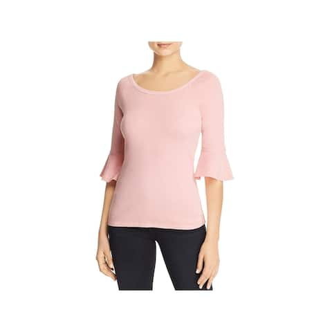 Three Dots Womens Knit Top Cotton Bell Sleeves