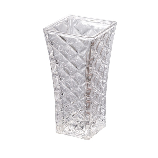 11.75 Crystal White Shock Resistant Clear Glass Floral Vase - N/A
