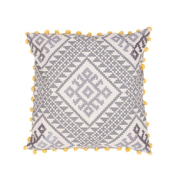"20"" Metal Gray and White with Yellow Trim Geometric Pattern Decorative Throw Pillow"