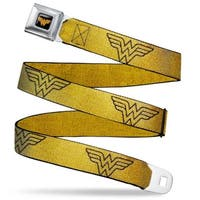 Wonder Woman Logo Reverse Brushed Black Gold Wonder Woman Logo Metallic Seatbelt Belt