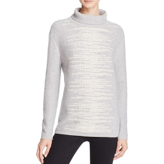 Magaschoni Womens Mock Turtleneck Sweater Front Stitch Long Sleeve