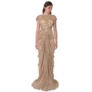 Alberto Makali Bead Embellished Draped Tulle Cap Sleeve Evening Gown Dress - 12