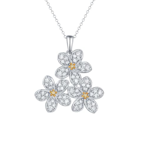 Prism Jewel 0.79CT Yellow Color Diamond & G-H/I1 Natural Diamond 3-Flower Pendant with Chain, 14k White Gold