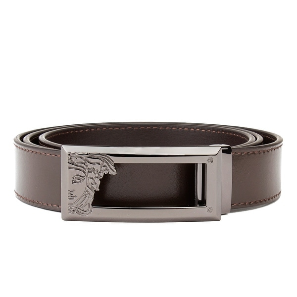 c3e17c3c25c Shop Versace Collection Men s Medusa Steel Buckle Saffiano Leather Belt  Brown - Free Shipping Today - Overstock.com - 21163182