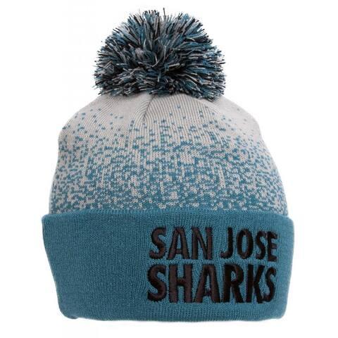 new arrival 89a62 3bab6 San Jose Sharks Mitchell   Ness Beanie w  Pom - Teal Gray
