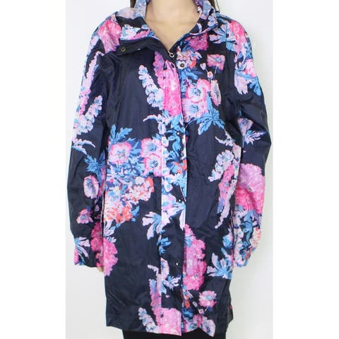 Joules Womens Jacket Blue Size 14 UK 18 EU 46 Floral Hooded Raincoat