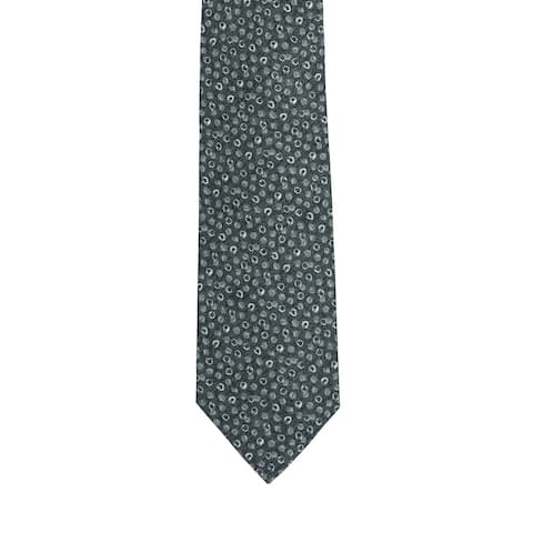 Isaia Napoli Men's Grey Silk Blend Geometric Pattern 7 Fold Tie RTL$235 NWT - One Size