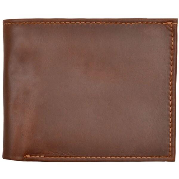 3D Wallet Mens Bifold Waxy Leather ID Window Cognac - One size