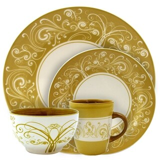 Elama EL-PARISIAN-SWIRL Parisian Swirl 16 Piece Service for 4 Stoneware Dinnerware Set