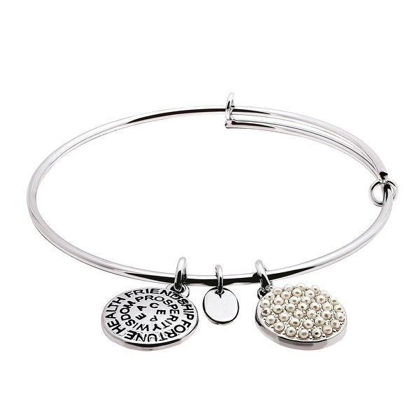Chrysalis Expandable June Bangle Bracelet with Glass Pearls in Rhodium-Plated Brass