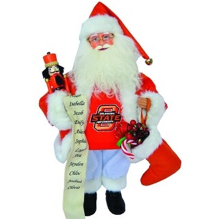 "15"" NCAA Oklahoma State Cowboys Santa Claus Christmas Figure with Nutcracker"