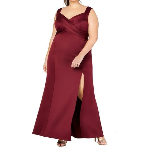 Emerald Sundae Women's Dress Wine Red Size 3X Plus Gown Slit Crossover