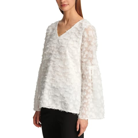 DKNY Womens Blouse Feathered Bell Sleeve
