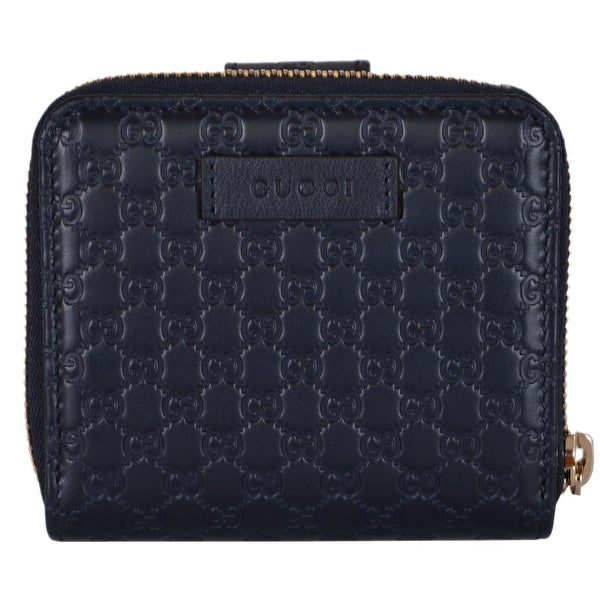 Gucci Women's 449395 Midnight Blue Leather Micro GG Guccissima French Wallet - 4.25 x 4 inches