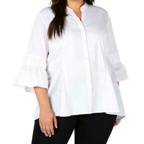 NY Collection Women's Shirt White Size 1X Plus Banded Collar Button Up