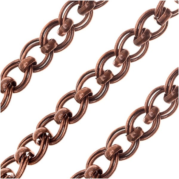 Antiqued Copper Plated Bulk Chain, 7.5x6.5mm Parallel Curb Links with Rolo Accent, Sold By The Foot