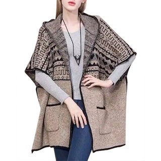 QZUnique Women's Hoodie Cardigan Sweater Side Split Poncho Shawl Wrap