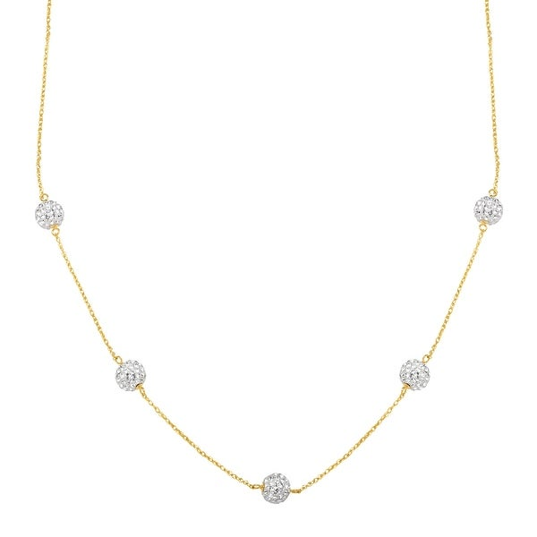 Station Necklace with Swarovski Crystal in 10K Gold