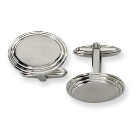 Chisel Brushed Ovals Stainless Steel Cuff Links
