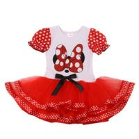 Girls White Red Minnie Polka Dot Bow Tie Accent Tutu Fluffy Dress