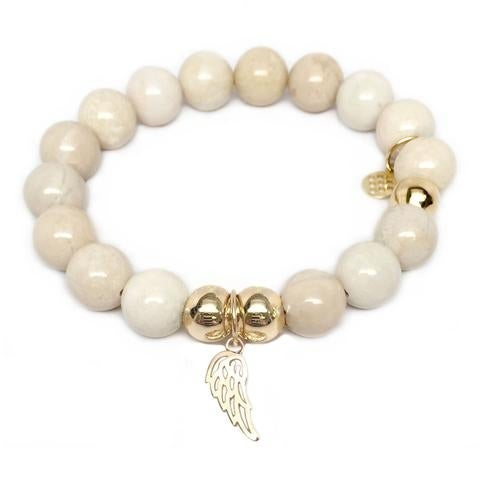 Julieta Jewelry Angel Wing Charm Ivory Jade Bracelet