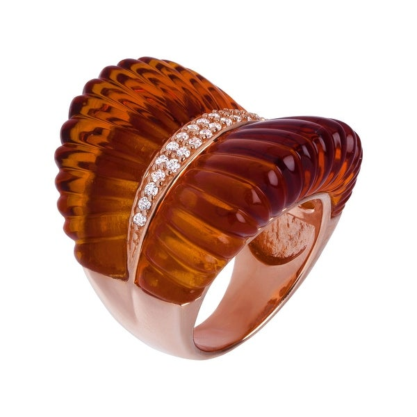 Cristina Sabatini Puglia Ring with Cubic Zirconia in 18K Rose Gold-Plated Sterling Silver - White