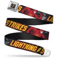 Flash Logo4 Full Color Black Yellow Red The Flash Running Poses Lightning Seatbelt Belt
