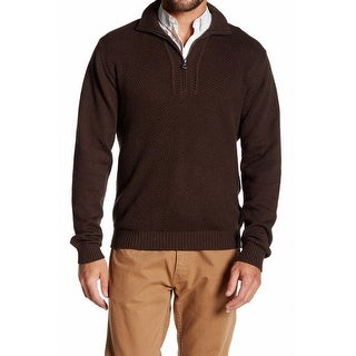 Weatherproof NEW Brown Mens Size Small S 1/2 Zip Textured Pullover Sweater