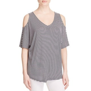 K&C Womens Pullover Top Striped Cold Shoulder