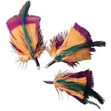 """Teal; Gold & Deep Plum - Feather Picks 3"""" 3/Pkg"""