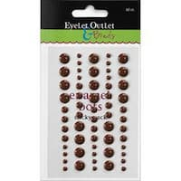 Eyelet Outlet Adhesive-Back Enamel Dot 60/Pkg-Brown