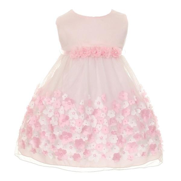 Kids Dream Baby Girls Pink Taffeta Flowers Sleeveless Easter Dress 3-24M