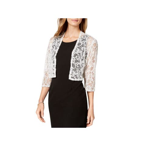 R&M Richards Womens Cardigan Top Open Front Lace - XL