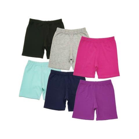 Strawberry Aqua Multi Color 6 Pack Dance Yoga Bike Shorts Little Girls