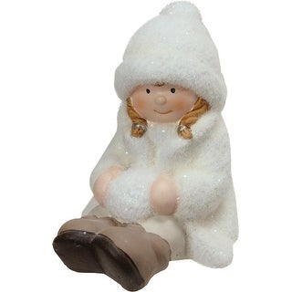 "4.75"" Creamy White Sitting Girl with Snowball Christmas Table Top Figure"