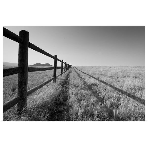 """A split rail fence vanishing into the horizon. Aspen, Colorado"" Poster Print"