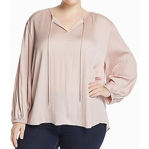 Lucky Brand Pink Womens Size 1X Plus Tie Neck Long Sleeve Blouse